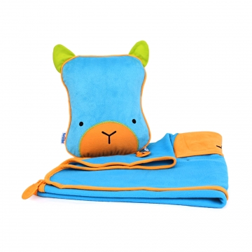 Подушка с пледом, голубая