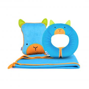 Набор подушка с пледом, голубая и подголовник