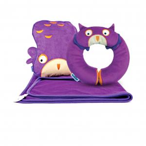 Набор подушка с пледом Сова и подголовник