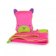 Подушка с пледом, розовая